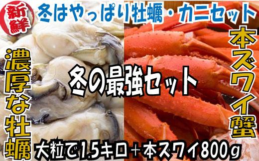 ふるさと納税 福岡 新宮町 本ズワイ蟹 牡蠣 【ふるさと納税】B130.冬はやっぱり牡蠣(1.5キロ)・カニ(800g)セット
