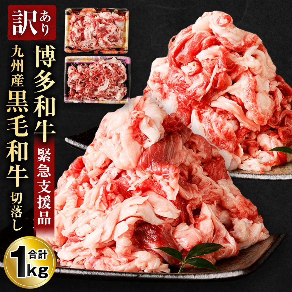 博多和牛 九州産黒毛和牛は肉質がやわらかく 噛むと肉汁が溢れ 濃厚な旨みが口の中に広がる美味しさが評判のお肉です 500g×2パックの小分けでお届けします ふるさと納税 緊急支援品 数量限定 訳あり 超激得SALE 九州産黒毛和牛 切落し 食べ比べ 1kg 冷凍 不揃い 福岡県産 ミックス 合計2パック 小分け 牛肉 切り落とし 送料無料 お肉 超特価 各500g×1パック 和牛
