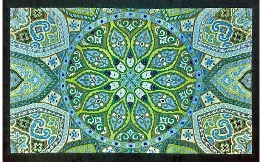 【ふるさと納税】い草玄関マット「万華鏡」(95×150)(グリーン) 02-BG-0108r