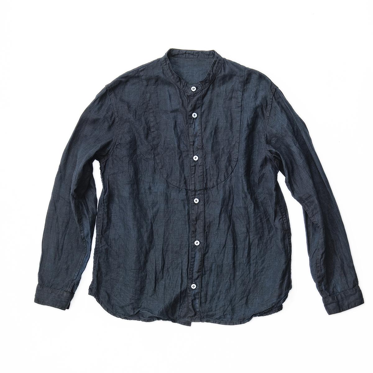 ふるさと納税 手染めリネン切替シャツ サイズ3 BLACK 泥藍染 02-BE-1903r ブライダル バレンタインデー ホワイトデー