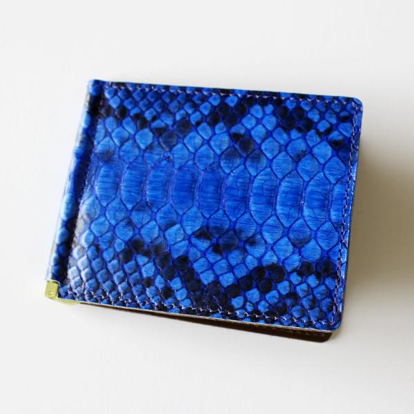 【ふるさと納税】マネークリップ(ダイヤモンドパイソン・ブルー) 02-BG-4801r