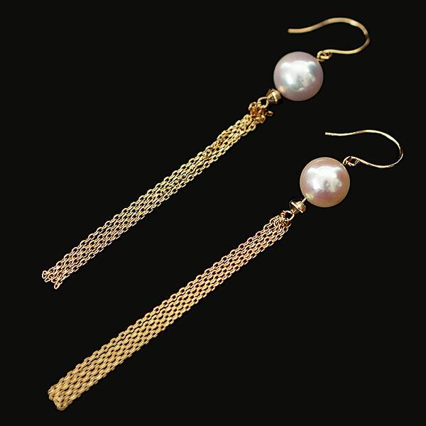 【ふるさと納税】Q-017.エレガントなアコヤ真珠フリンジピアス