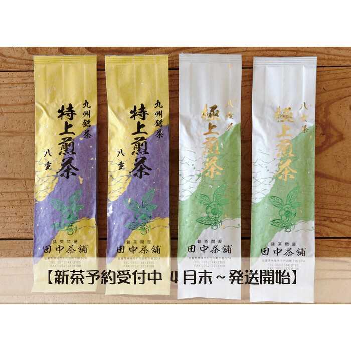 【ふるさと納税】【新茶予約4月末~発送開始】「極上煎茶」2本・「特上煎茶」八重2本飲み比べセット (H047106)
