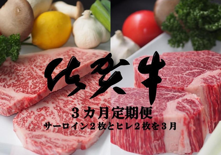 【ふるさと納税】JH-007R 佐賀牛ヒレ・サーロインステーキ3カ月定期便(計12枚)
