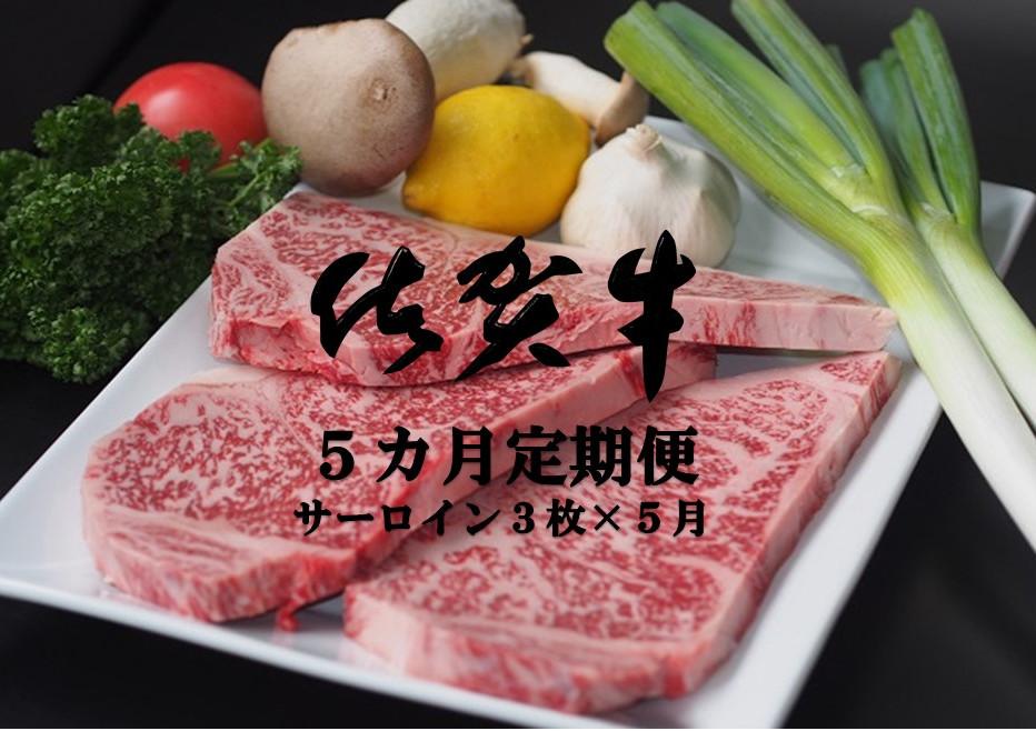 【ふるさと納税】JH5-002R 佐賀牛サーロインステーキ 5カ月定期便(計15枚)