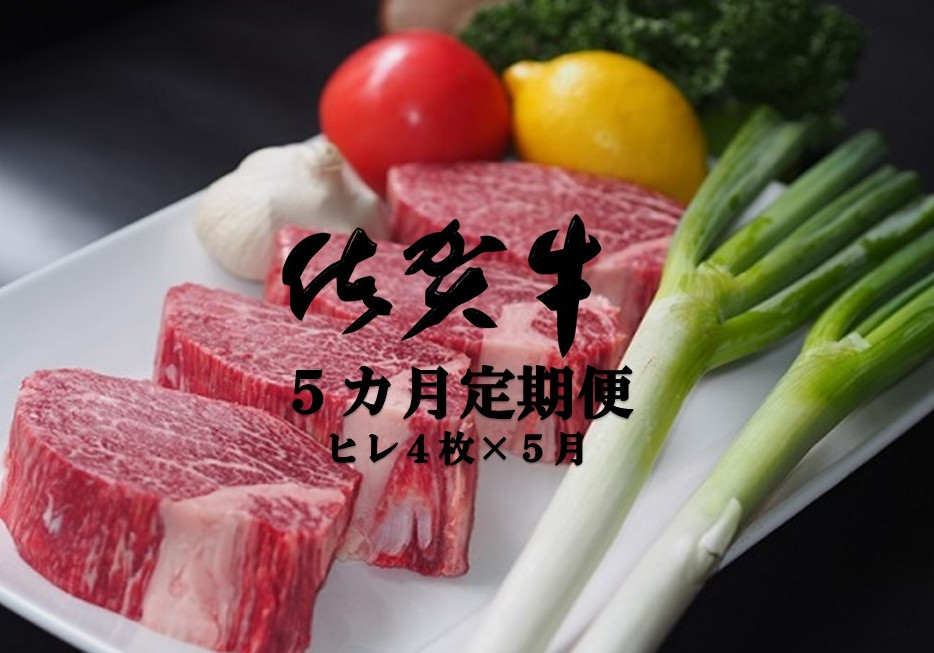 【ふるさと納税】M-004R 佐賀牛ヒレステーキ 5カ月定期便(計20枚)