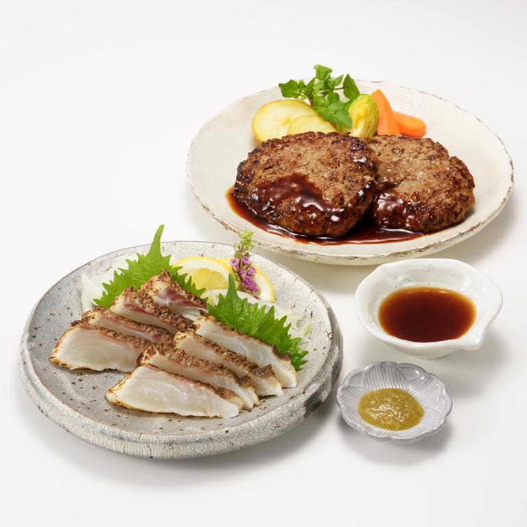 【ふるさと納税】真鯛たたき・佐賀牛80%ハンバーグコラボ