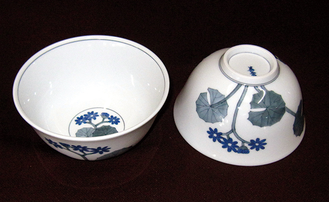 A35-17【ふるさと納税】舘源・舘林喜助工房 古染付石蕗絵五寸鉢(丼)(2客入り)