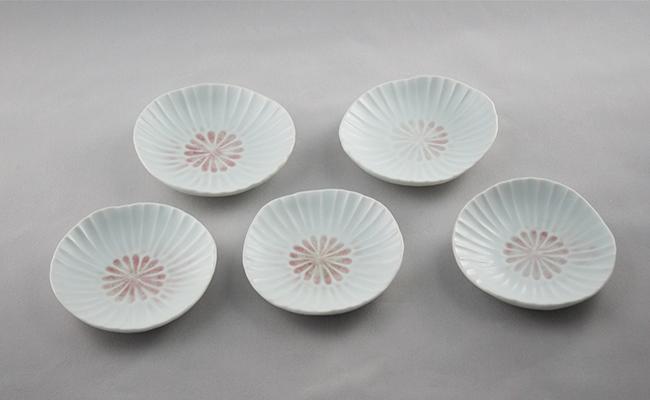 A12-36【ふるさと納税】有田焼 菊小皿 マット 5枚セット 西隆行