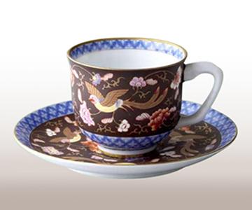 A100-13【ふるさと納税】香蘭社 渕地黒絵花鳥紋・1客コーヒー碗皿【陶磁器】