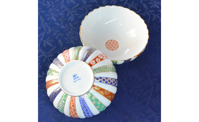 A25-30【ふるさと納税】香蘭社 三色地紋・組中鉢