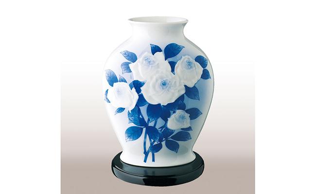 A70-28【ふるさと納税】香蘭社 染付陽刻薔薇・花瓶