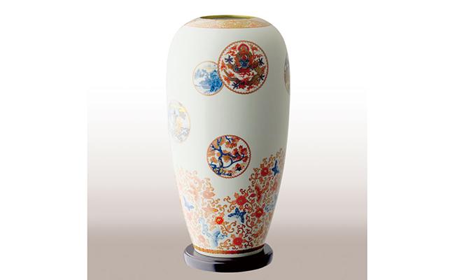 A1000-17【ふるさと納税】香蘭社 色絵吉祥丸紋・花瓶