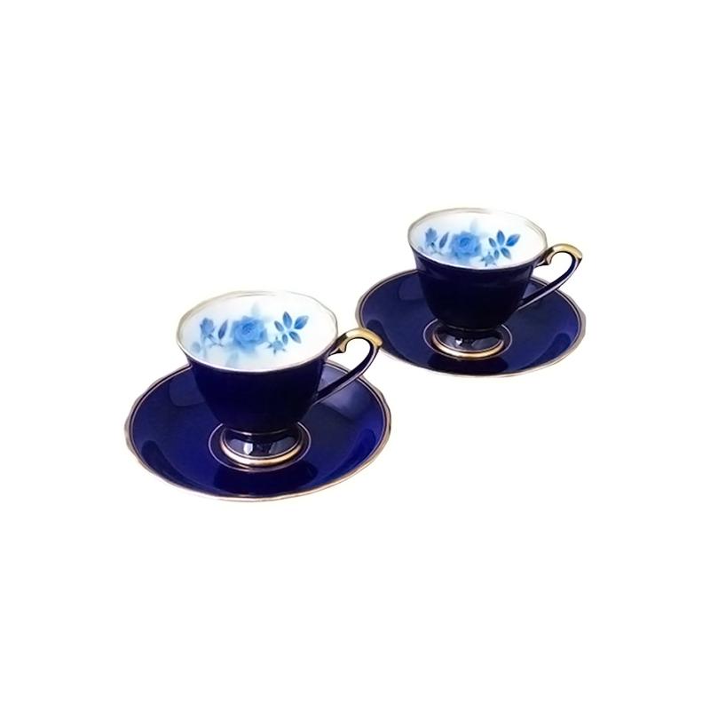 【ふるさと納税】KR003R【花言葉は「夢叶う」 白磁有田焼】ルリサムシングブルー・ペアコーヒー碗皿