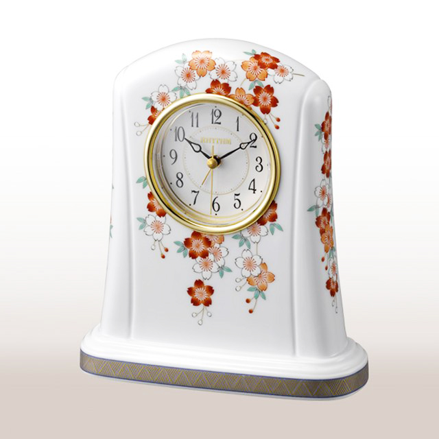 【ふるさと納税】KR20013R 香蘭社 桜・クオーツ置時計