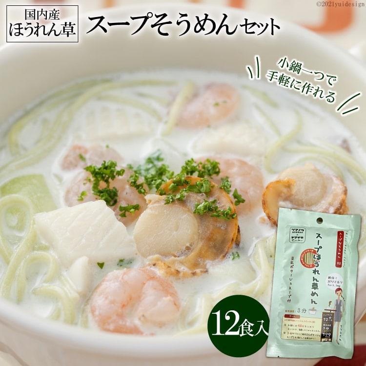 【ふるさと納税】伝統の味が若者のアイデアで進化 スープそうめんセット(ほうれん草)12食
