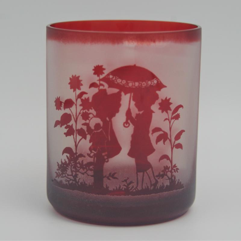 【ふるさと納税】【C0-028】オリジナルオーダー彫刻 色被せオールドグラス(赤)