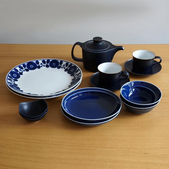 【ふるさと納税】TA05 【2人分の食器セット】ホワイト&ブルー/モダンな食器11ピースセット【白山陶器】