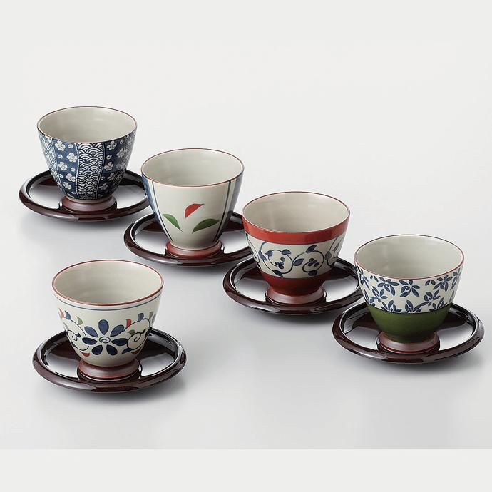 【ふるさと納税】OA17 【波佐見焼】茶たく付き重なりのよい湯のみ5柄セット【西海陶器】