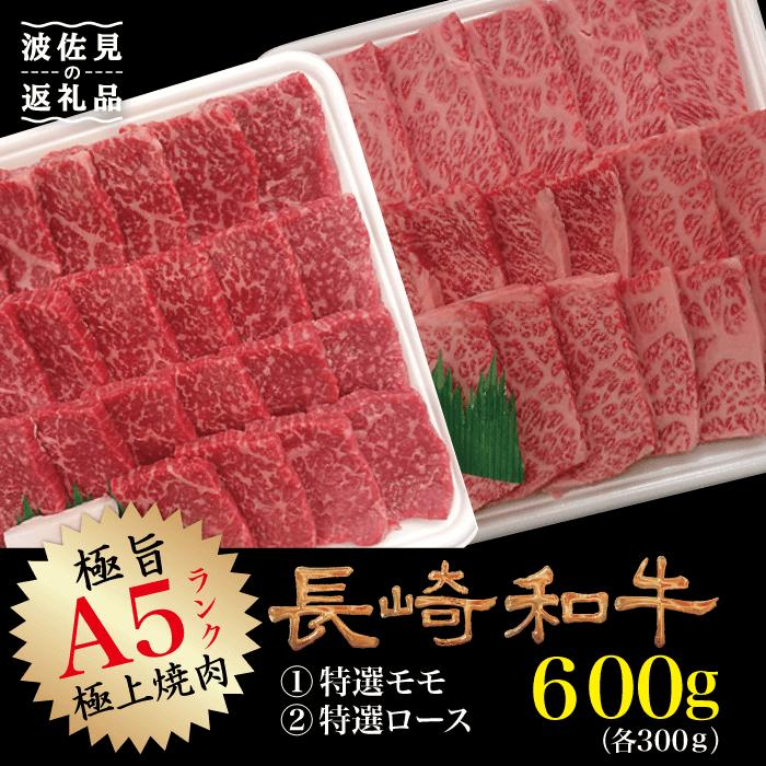 【ふるさと納税】NA48 【A5ランク極上の焼肉】長崎和牛焼肉(特選モモ・ロース)各300g