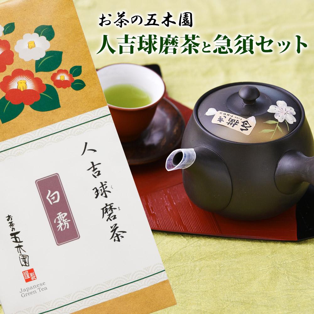 【ふるさと納税】人吉球磨茶と急須セット 2袋セット 各100g入り 急須 お茶 高級茶 白霧 しにせ 九州産 熊本県産 緑茶 セット 送料無料