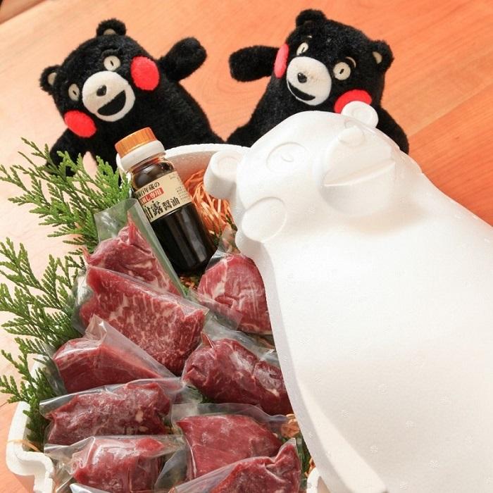 【ふるさと納税】くまモンBOX入り「上赤身セット」+馬肉おつまみ3点