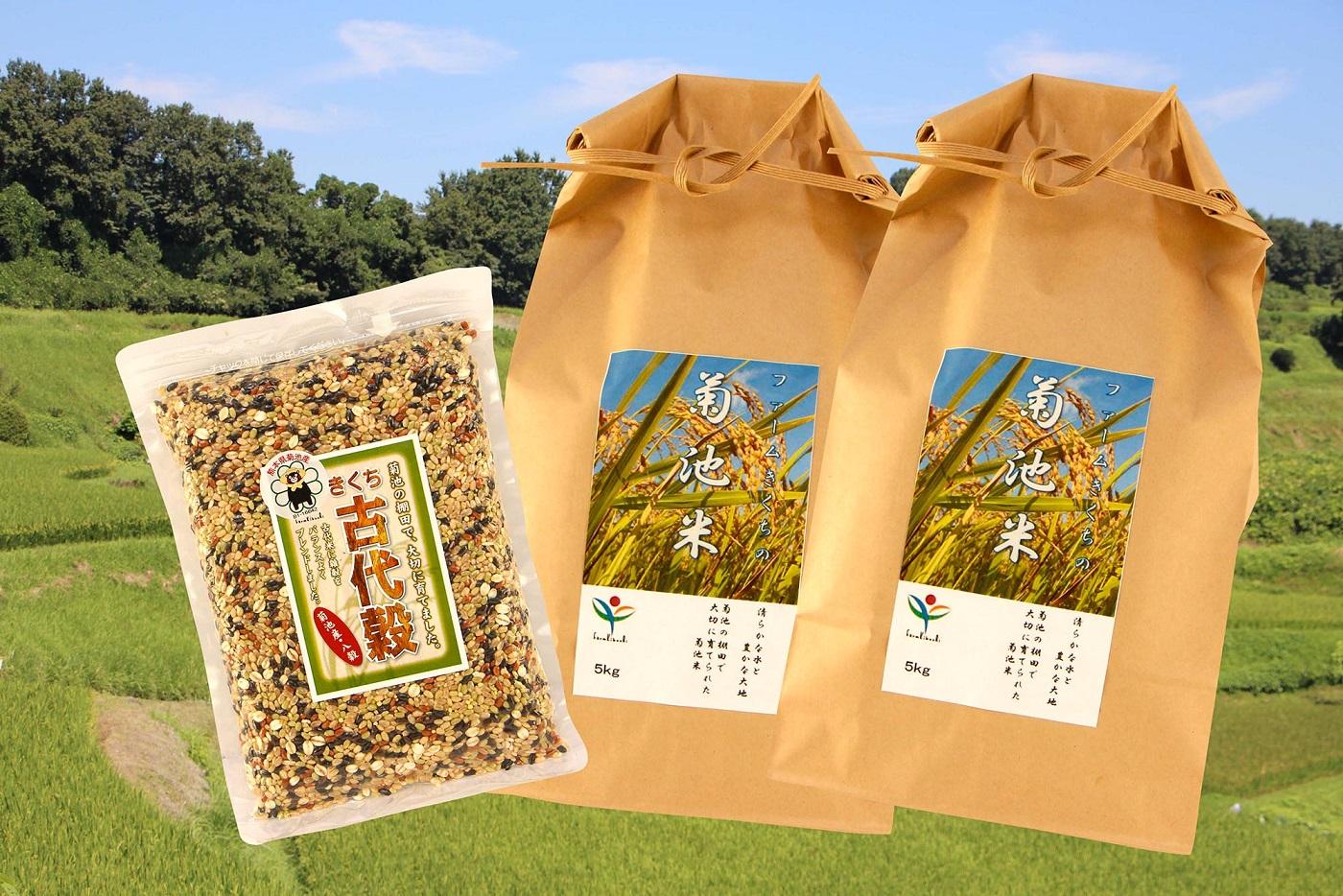 【ふるさと納税】菊池米・きくち古代米セットD (精米5kg×2、八穀500g×1) 【ファームきくち】