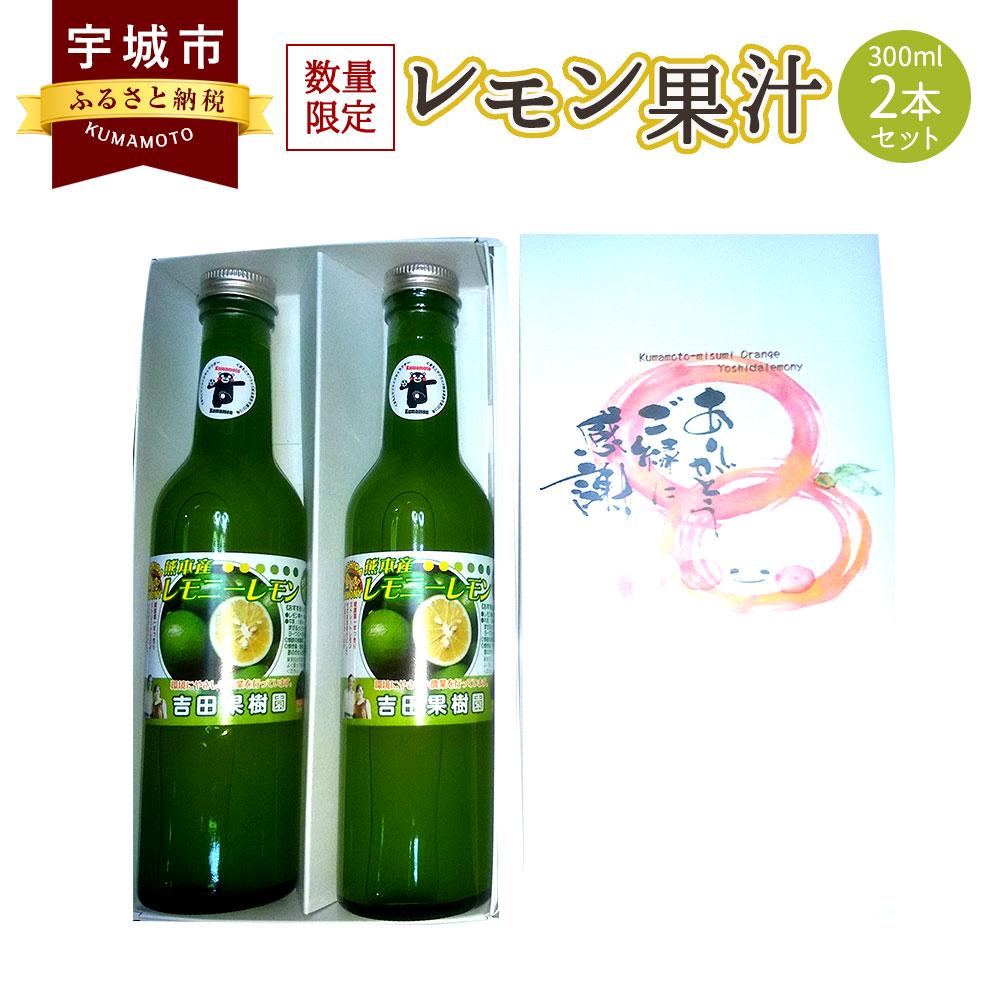 【ふるさと納税】レモン果汁 300ml 2本セット レモン果汁100% 保存料不使用 完全無添加 数量限定 国産 九州 熊本県産 瓶 詰め合わせ ギフト 送料無料