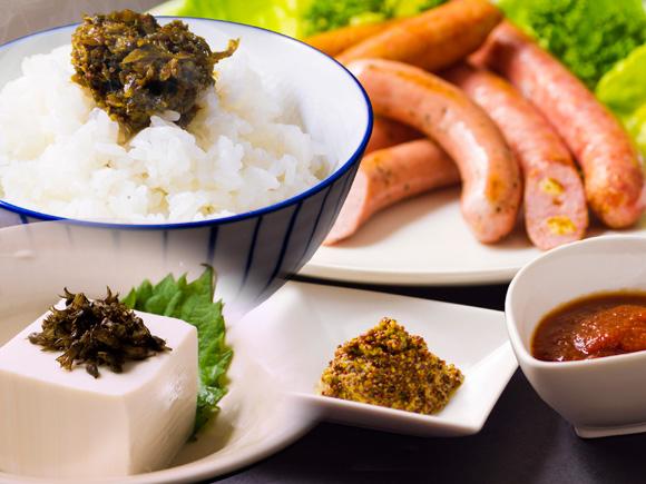 【ふるさと納税】阿蘇の特産品セット(自然純米・しその実・高菜3種・ケチャップ・マスタード)
