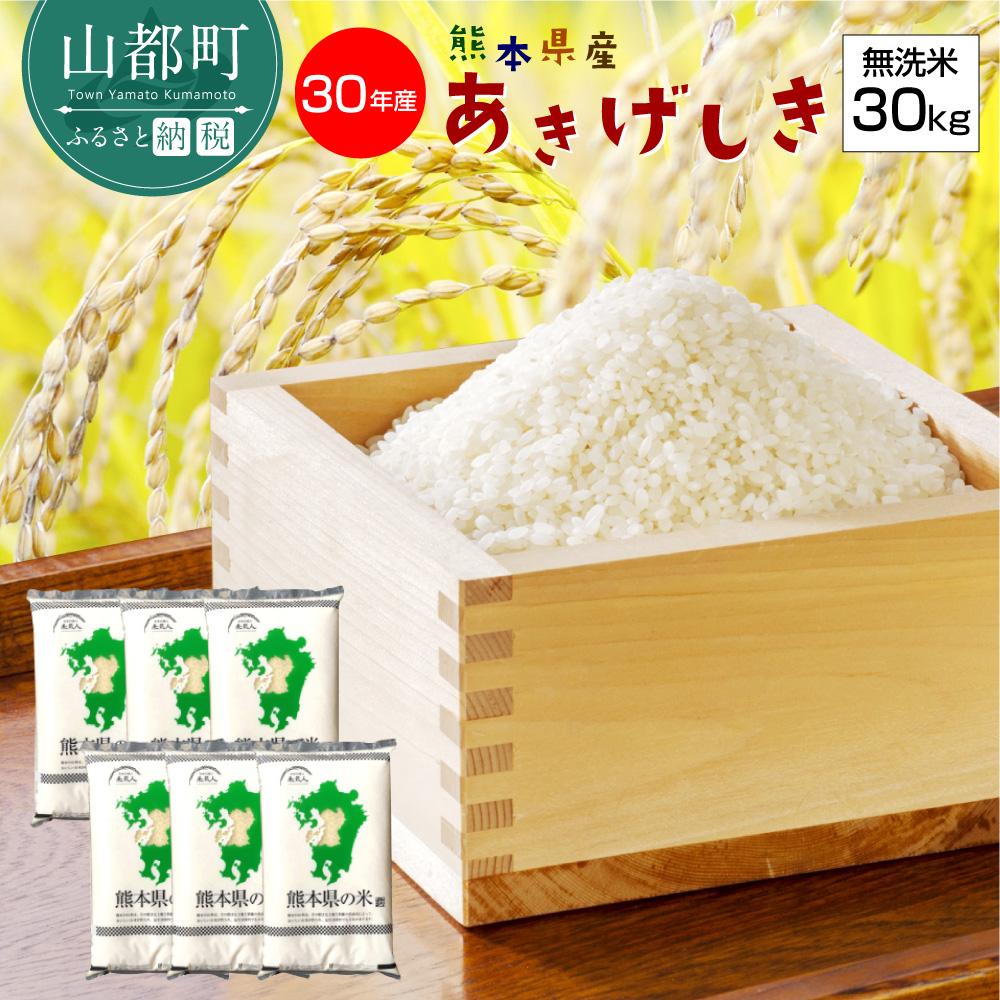 【ふるさと納税】熊本県産あきげしき 無洗米30kg