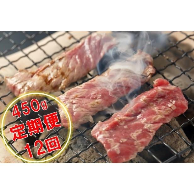 【ふるさと納税】くまもとあか牛 焼肉450g【定期便12回】 【定期便・お肉・牛肉・焼肉・バーベキュー】