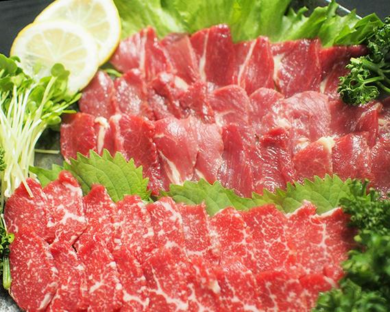 【ふるさと納税】No.114 熊本特産馬刺し 霜降・赤身食べ比べセット(専用タレ付き) / 馬肉 2種セット 熊本県