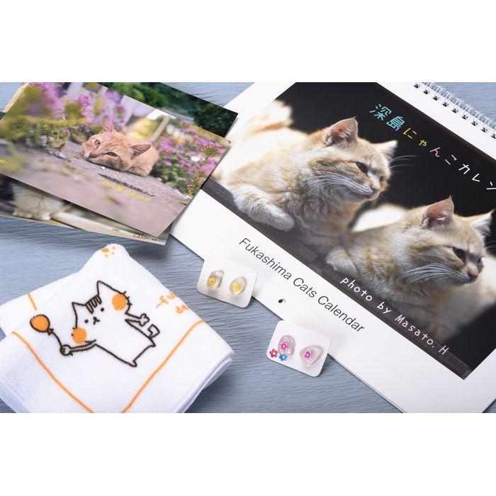【ふるさと納税】深島の海からの贈り物シーグラスのピアスと深島猫グッズ