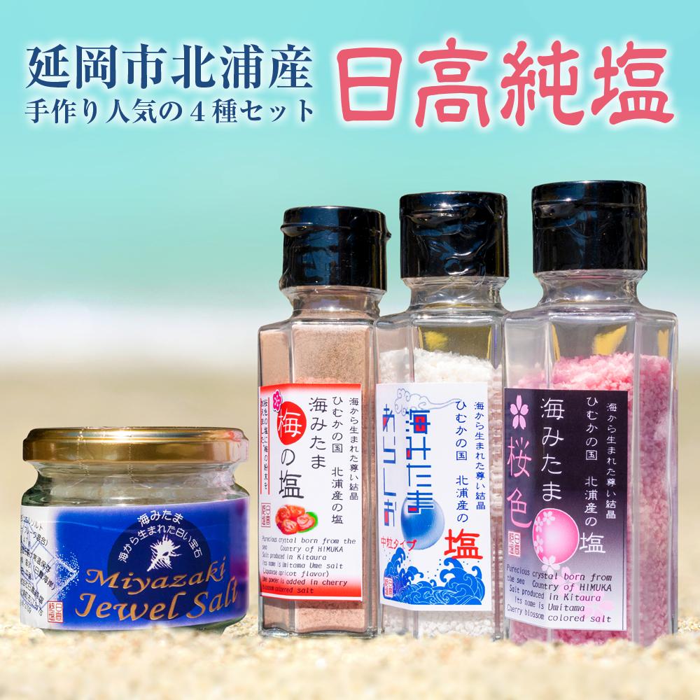 【ふるさと納税】延岡市北浦産 「日高純塩」 手作り人気の塩4種セット