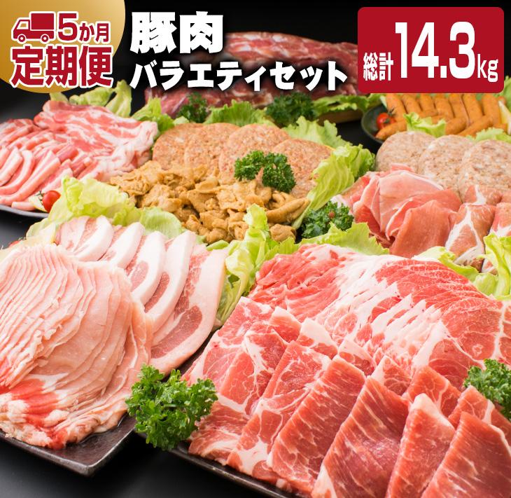 年間定番 新作 人気 肉 豚 焼肉 しゃぶしゃぶ とんかつ ハンバーグ 冷凍 ≪5か月定期便≫お楽しみ 総計14.3kg ふるさと納税 豚肉バラエティセット
