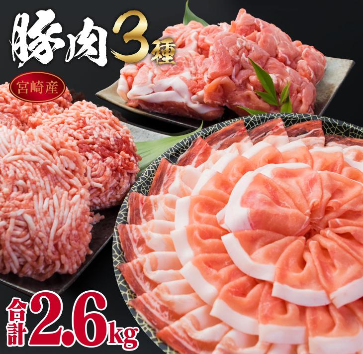 いろんな料理に使える ふるさと納税 ◆在庫限り◆ ☆送料無料☆ 当日発送可能 万能豚肉バラエティーセット スライス切り落としミンチ 合計2.6kg