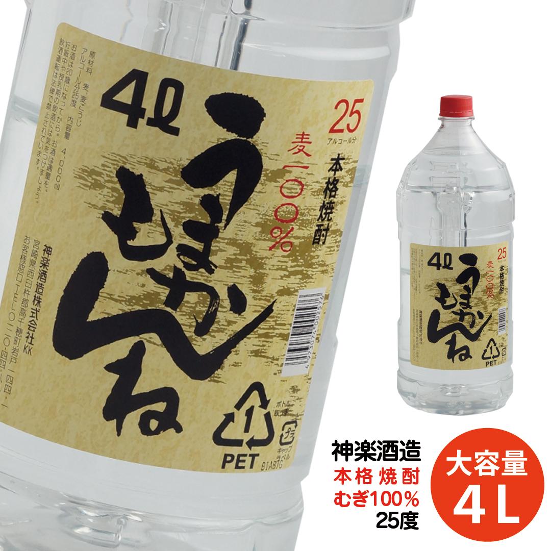 【ふるさと納税】ビックサイズ!神楽酒造『うまかもんね』麦焼酎25度(4L)