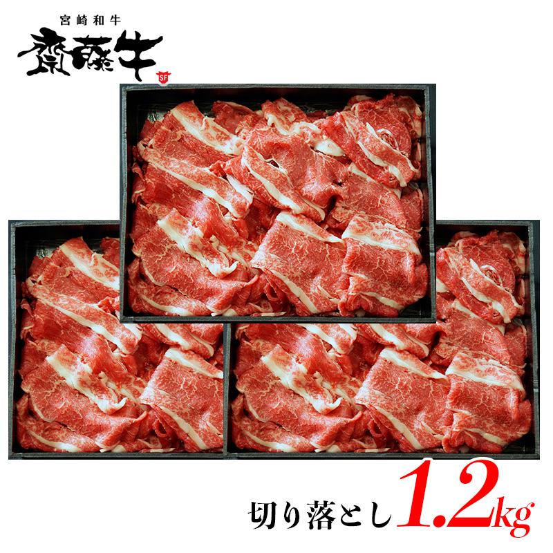 【ふるさと納税】宮崎和牛「齋藤牛」切り落とし1.2kg(400g×3パック)