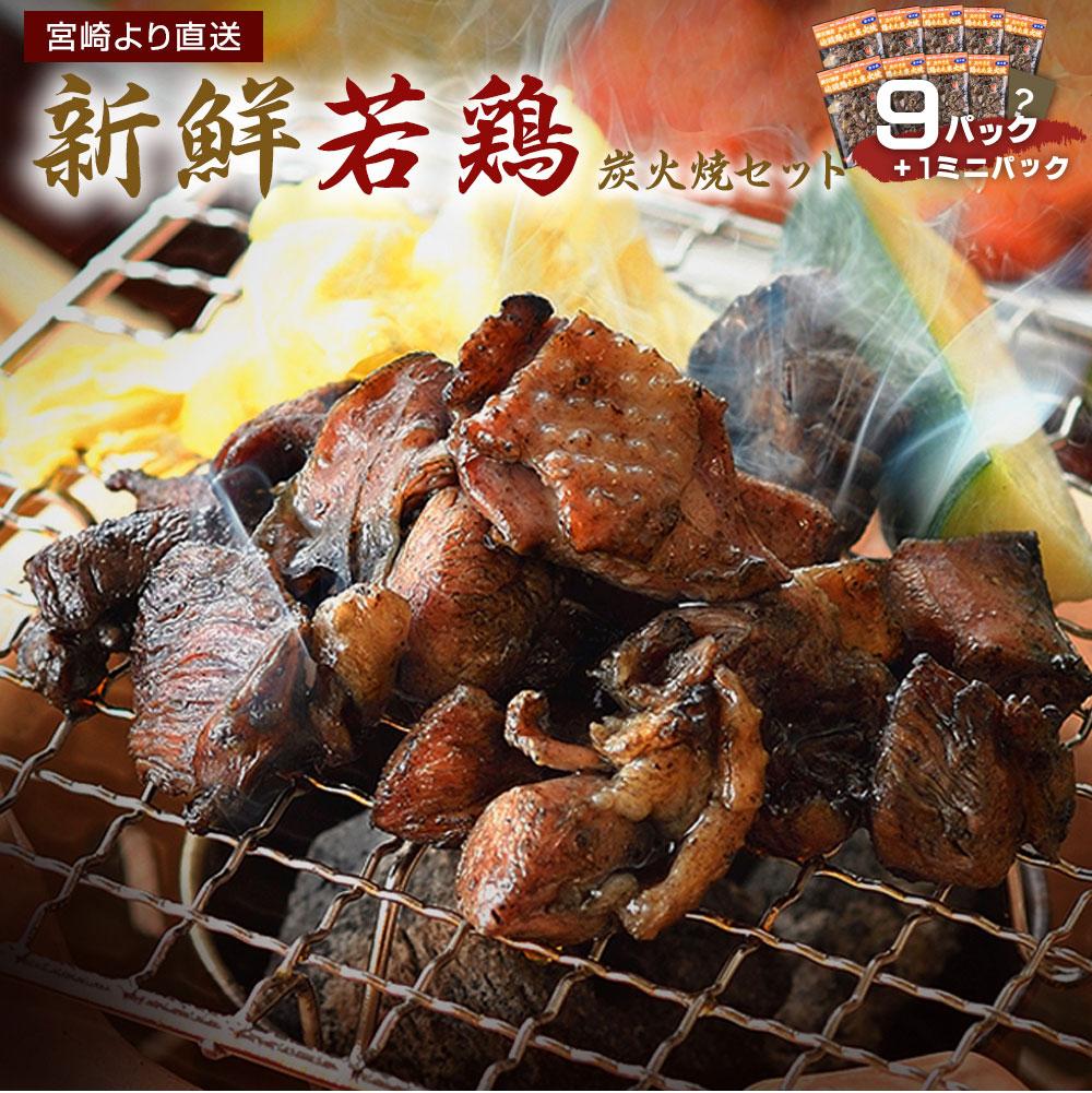 【ふるさと納税】鶏炭火焼きセット(9パック+ミニ1パック) 宮崎 地鶏 若鶏 もも肉 ハラミ なん骨 せせり 真空パック 宮崎直送 冷蔵 送料無料