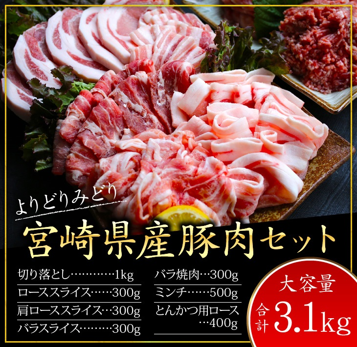 【ふるさと納税】『豚肉の宝石箱~★』よりどりみどり宮崎県産豚肉セット(合計3.1kg)