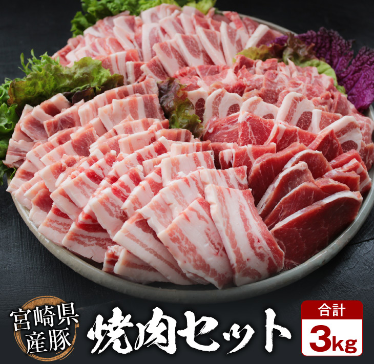 おうち焼肉 大容量 豚肉 バーベキュー 事業者支援 激安☆超特価 送料無料 豚焼肉バラエティー3kg 冷凍 ふるさと納税 正規販売店 粗挽きウインナー180gセット《合計3kg以上》都農町加工品