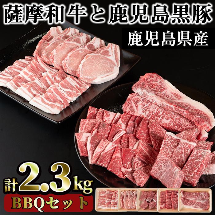 【ふるさと納税】数量限定!<薩摩和牛と鹿児島黒豚・合計2.3kg>BBQセット(ロースステーキ 2枚400g・モモステーキ 6~7枚500g・モモもしくはカタ焼肉用 400g・黒豚ロースステーキ 5枚600g・バラ焼肉用400g)食べ比べ!【さつま屋産業】
