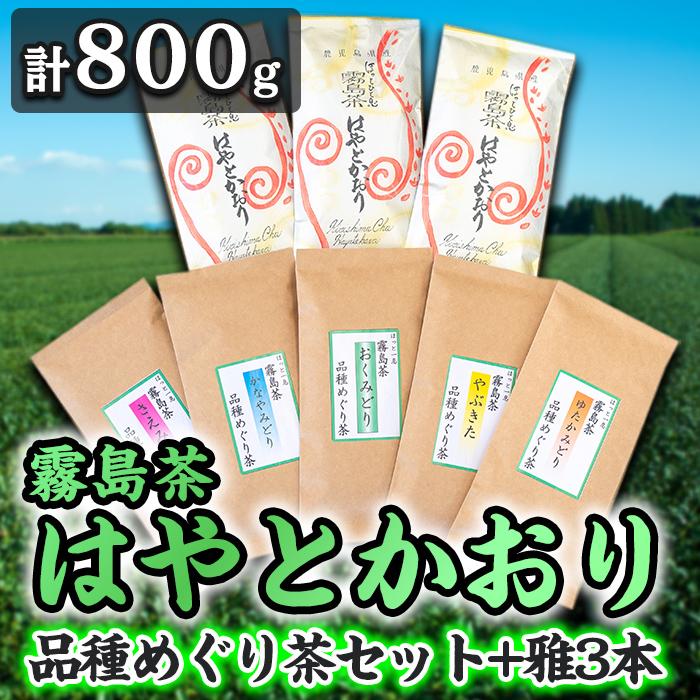 【ふるさと納税】霧島茶 はやとかおり(詰合せ)品種めぐり茶セット、雅3本
