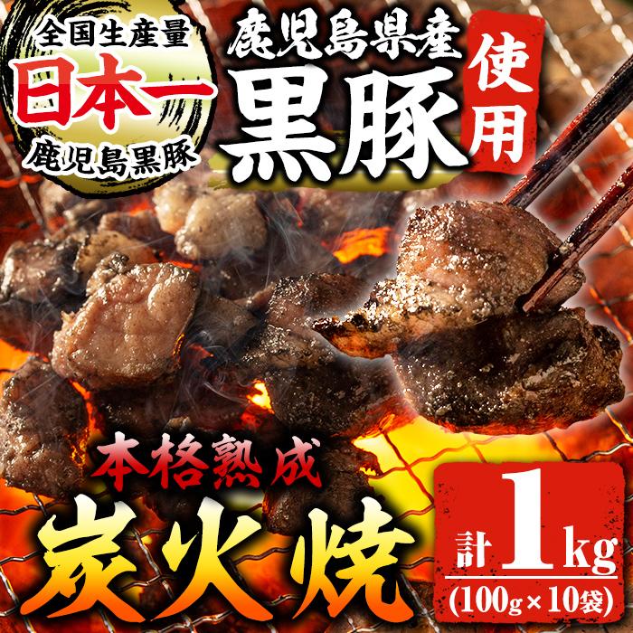 【ふるさと納税】国産!鹿児島県産黒豚炭火焼き(100g×10袋・計1kg)黒豚肉特有の脂のうまみが味わえる逸品!炭火で丁寧に焼き上げた炭火焼き肉!おつまみやおかずに【センターフーズ】