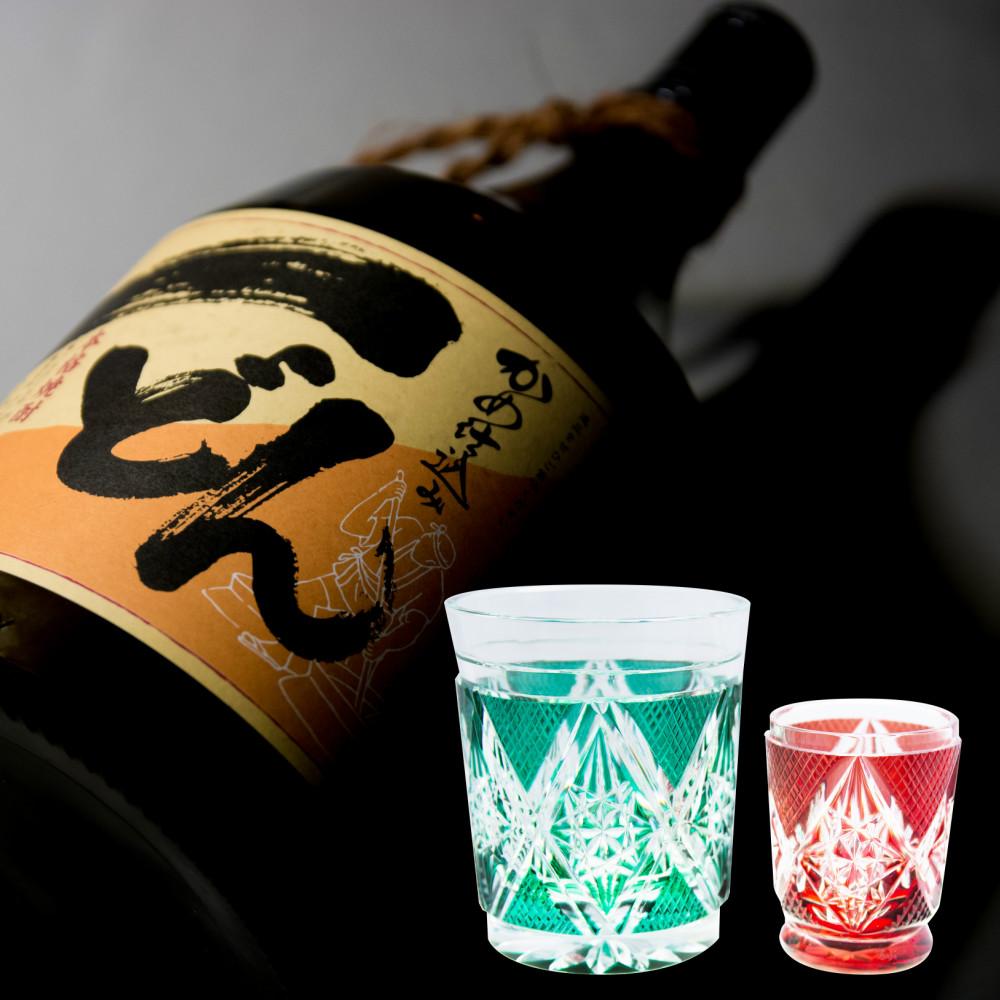 □【ふるさと納税】【プレミアム焼酎】一どん1.8L & 薩摩切子 盃・タンブラーセット