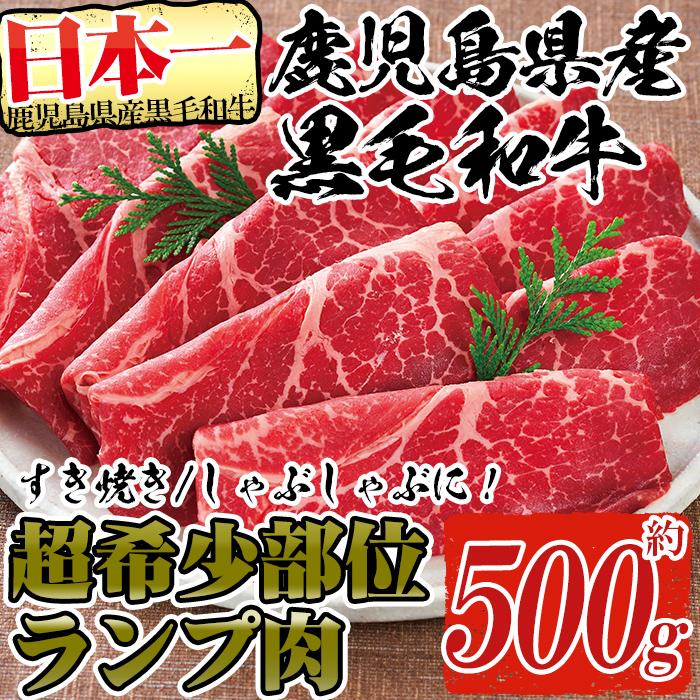 【ふるさと納税】超希少部位!鹿児島県産黒毛和牛肉!ランプ肉スライス 約500g!すき焼きやしゃぶしゃぶに♪【財宝】