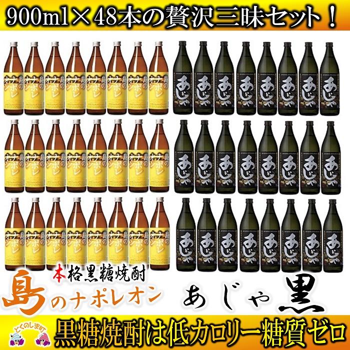 【ふるさと納税】奄美黒糖焼酎「島のナポレオン」と「あじゃ黒」セット(48本)