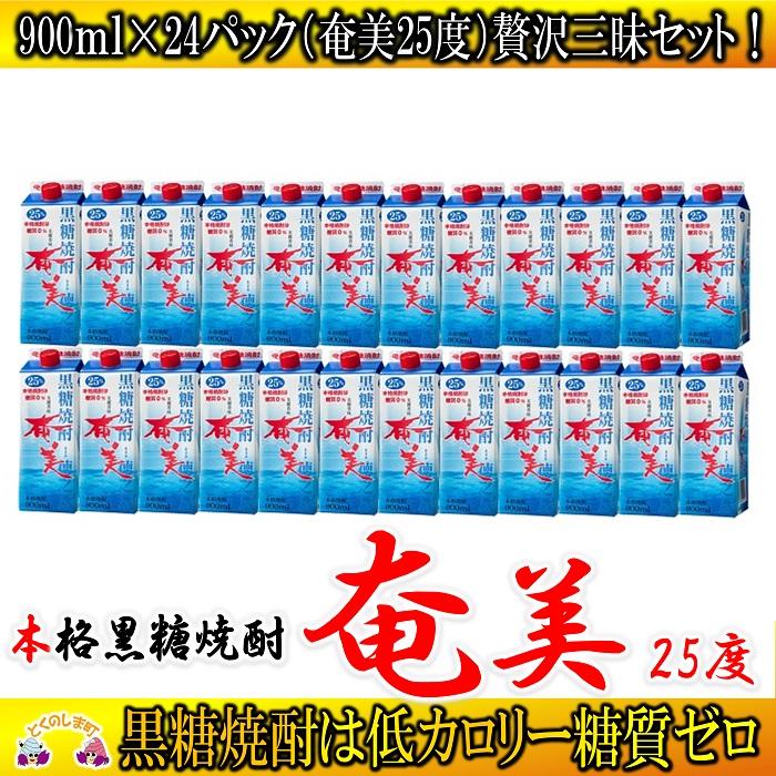 【ふるさと納税】奄黒糖焼酎「奄美(25度)」900mlパック(24本セット)