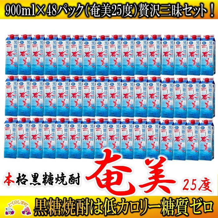 【ふるさと納税】奄黒糖焼酎「奄美(25度)」900mlパック(48本セット)
