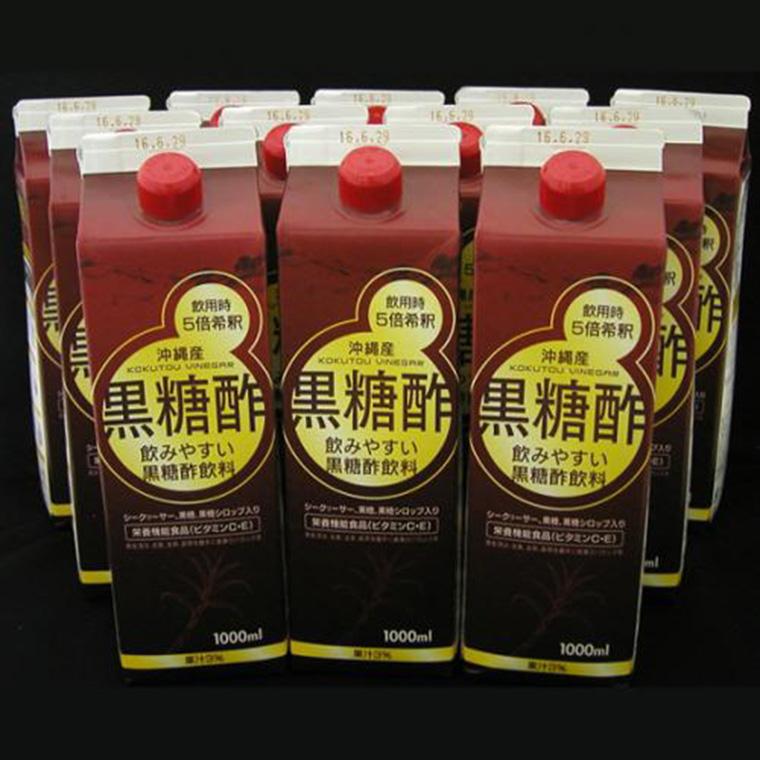 【ふるさと納税】沖縄産黒糖酢飲料1L×12本
